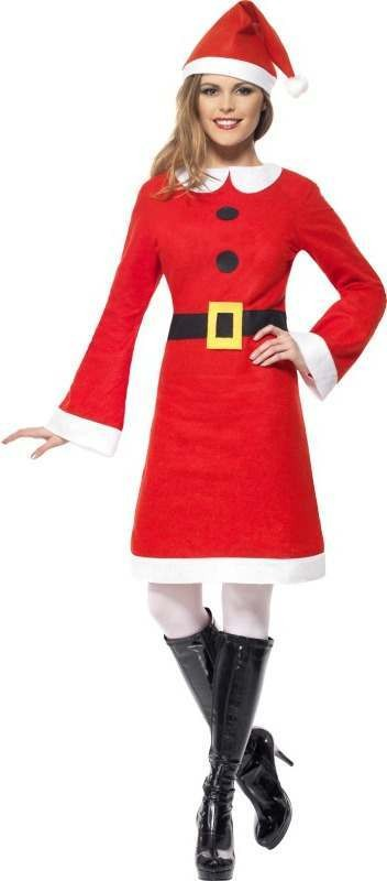 Ladies Economy Miss Santa Costume Christmas Outfit (Red)