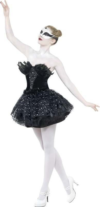 Ladies Gothic Swan Masquerade Costume Halloween Outfit (Black)
