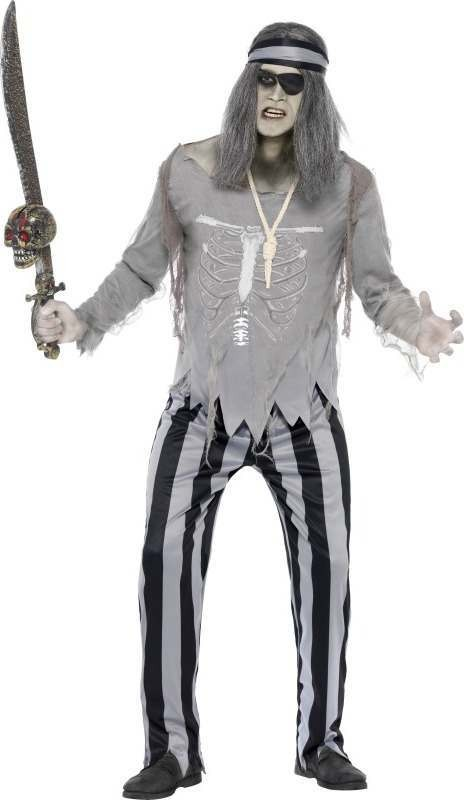 Mens Ghost Ship Pirate Shipmate Costume Halloween Outfit (Grey)