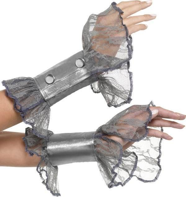 Ladies Lace Wrist Cuffs Halloween Gloves