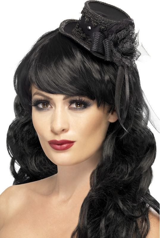 Ladies Mini Top Hat Fascinator Halloween Hats - (Black)