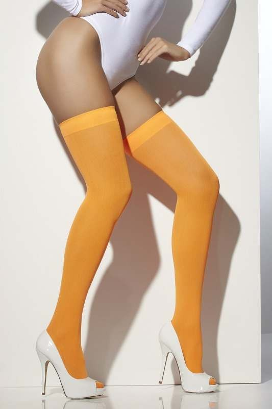 Ladies Opaque Hold-Ups Tights - (Orange)