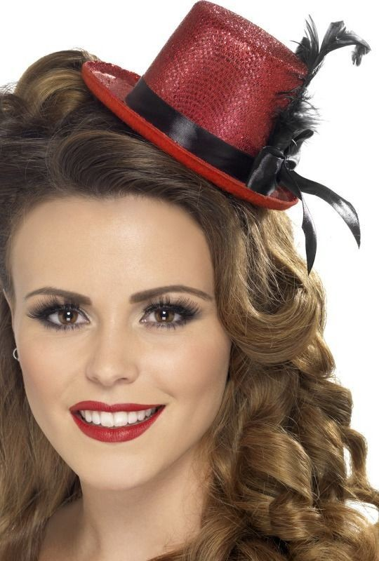 Ladies Mini Tophat Hats - (Red)