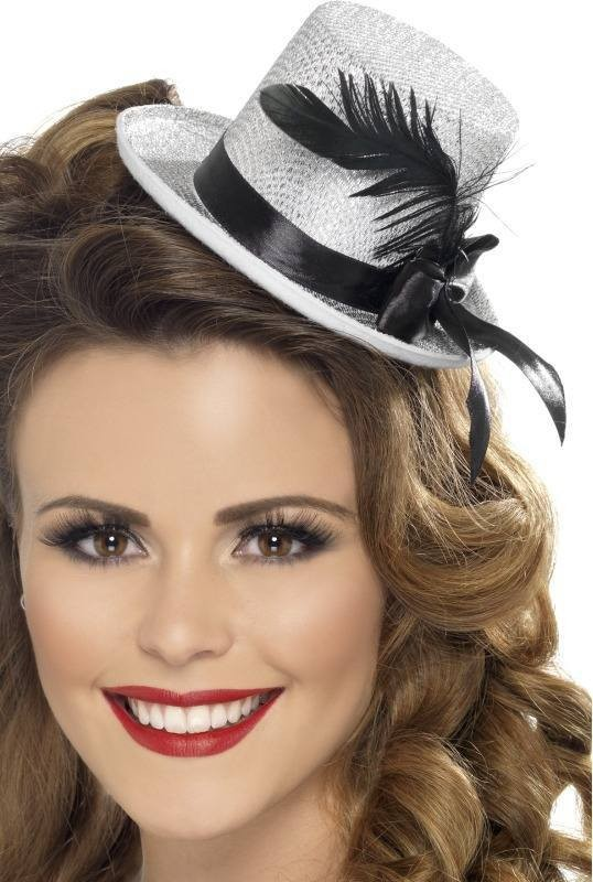 Ladies Mini Top hat Hats - (Silver)