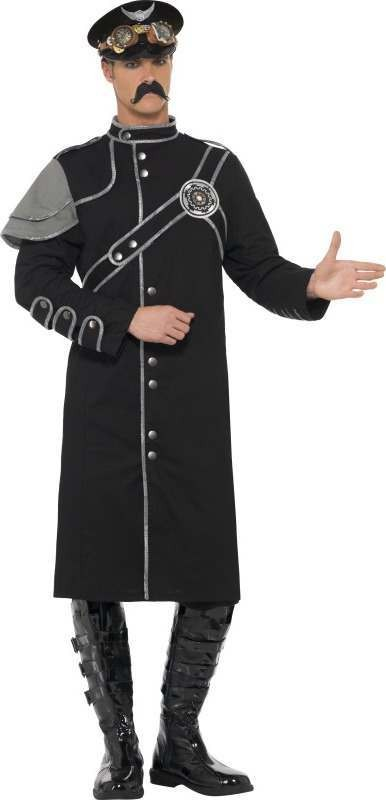 Mens Steam Punk Military Male Costume Halloween Outfit (Black)