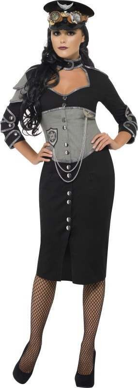 Ladies Steam Punk Military Female Halloween Outfit (Black)