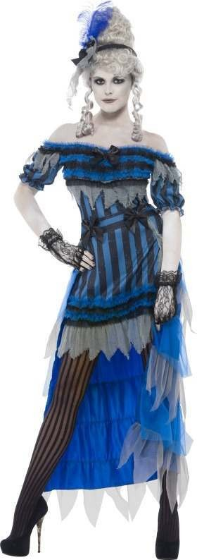Ladies Ghostly Saloon Girl Costume Halloween Outfit (Blue)