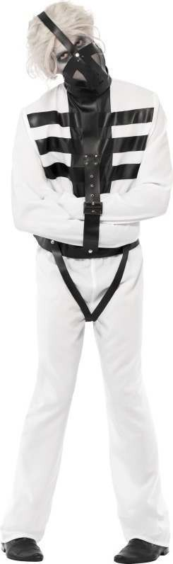 Mens Snake Pit Straitjacket Costume Halloween Outfit (White)
