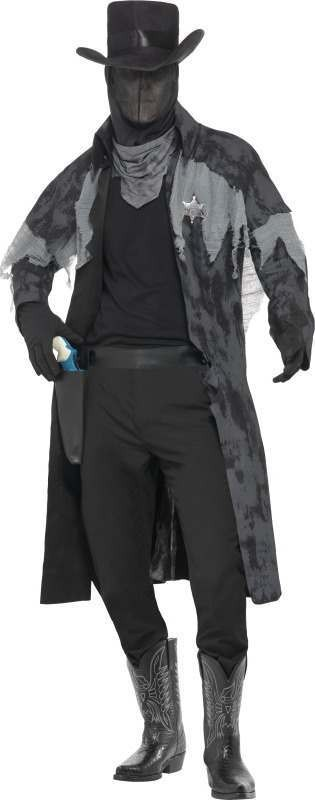 Mens Ghost Town Phantom Sheriff Costume Halloween Outfit (Black)