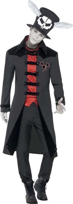Mens Sinister Bad Hatter Costume Halloween Outfit (Black)