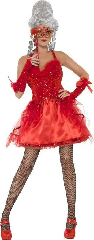 Ladies Devilish Masquerade Costume Halloween Outfit (Red)