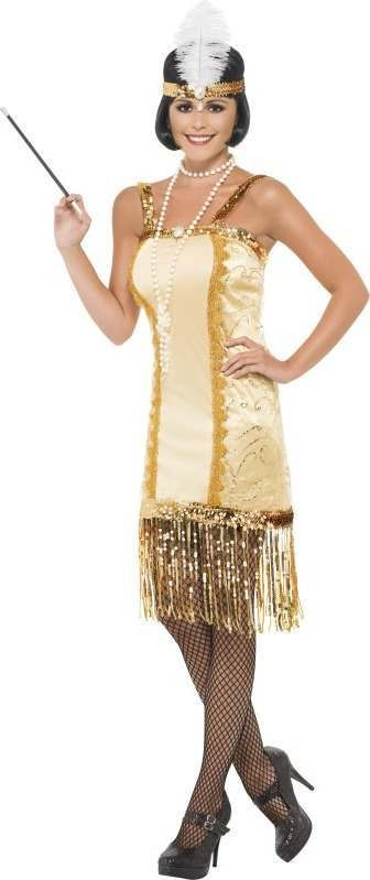 Ladies Charleston Flapper Costume 1920'S Outfit (Gold)