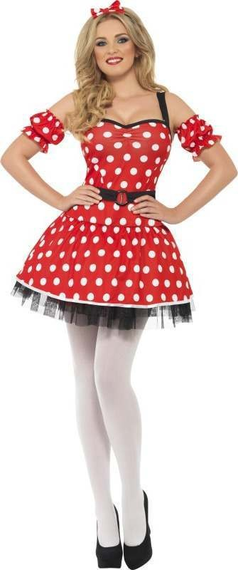 Ladies Madame Mouse Costume Animal Outfit (Red)
