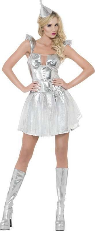 Ladies Fever Tin Woman Costume Fairy Tales Outfit (Silver)