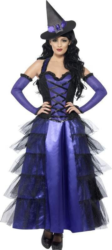 Ladies Glamorous Witch Costume Halloween Outfit (Purple)