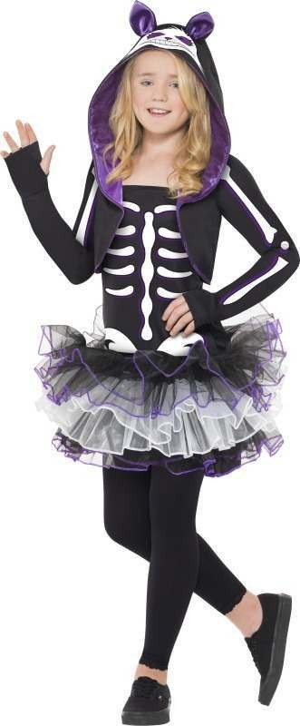 Girls Skelly Cat Costume Halloween Outfit (Black)