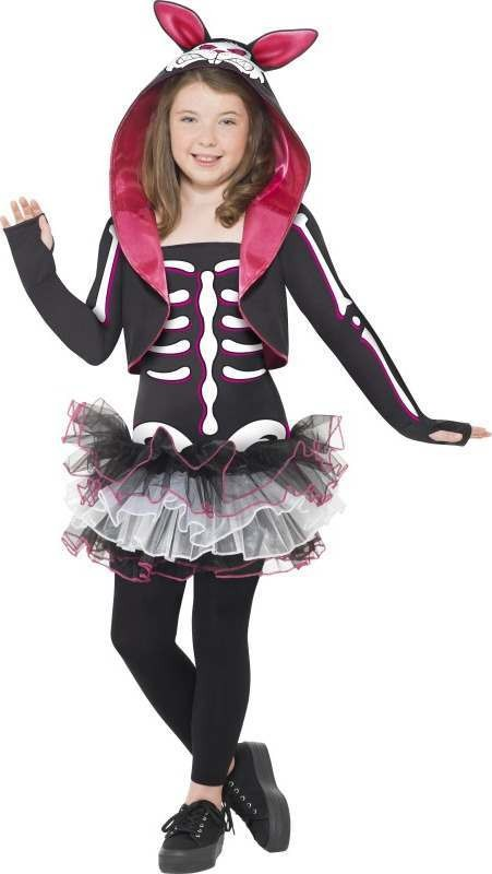 Girls Skelly Rabbit Costume Halloween Outfit (Black)
