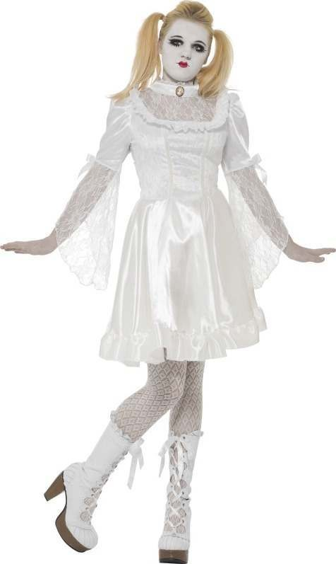 Girls Gothic China Doll Costume Halloween Outfit