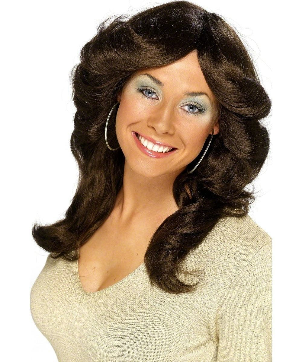 Ladies Seventies Flick Wig Wigs - (Brown)