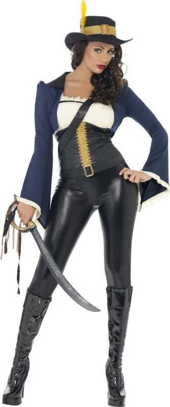 Ladies Penelope Pirate Costume Pirates Outfit (Blue)