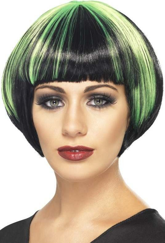 Ladies Quirky Bob Wig Halloween Wigs - (Black)