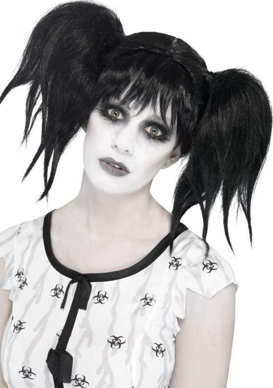 Ladies Abby Normal Wig Halloween Wigs - (Black)