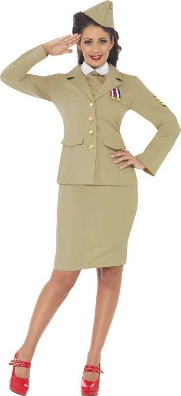 Ladies Retro Officer Woman Army Outfit (Yellow)