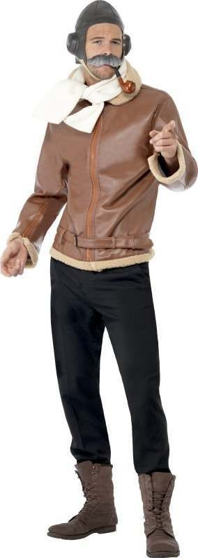 Mens Ww2 Pilot Costume Army Outfit (Brown)