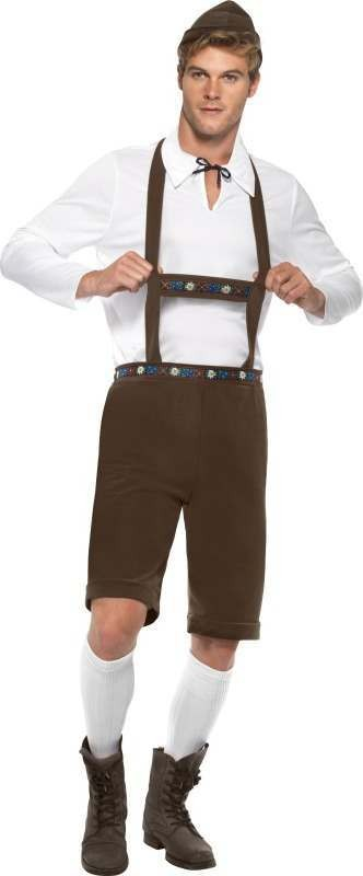 Mens Bavarian Man Costume Bavarian Outfit (Brown)