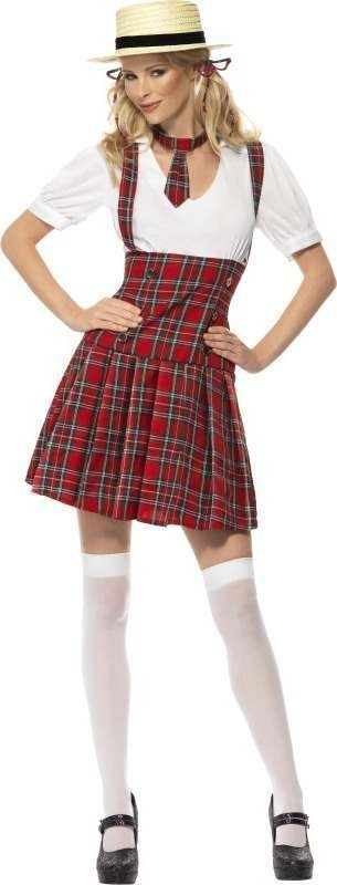 Ladies Schoolgirl Costume School Outfit (Red)
