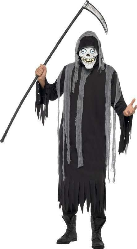 Mens Skeleton Costume Halloween Outfit - One Size (Black)