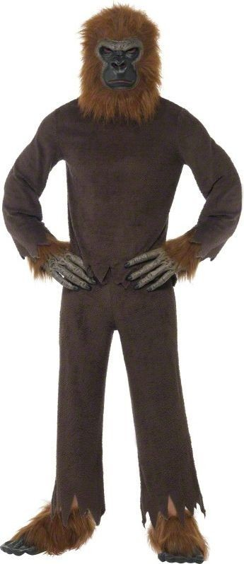 Mens Ape Costume Animal Outfit - One Size (Brown)