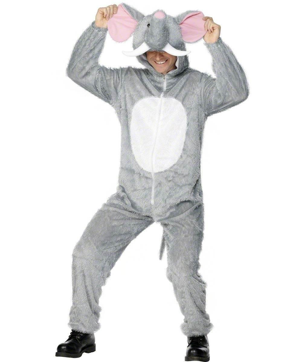 Adult Unisex Elephant Costume Animal Outfit - Unisex Large (Grey)