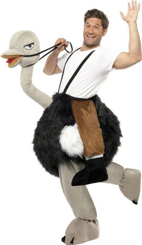 Mens Ostrich Costume With Fake Hanging Legs Animal - One Size (Black, White)