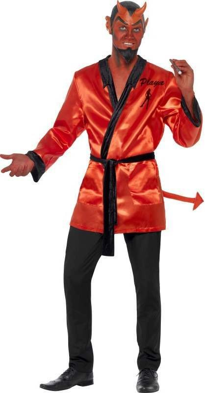 Mens Devil Playa Costume Halloween Outfit (Red)