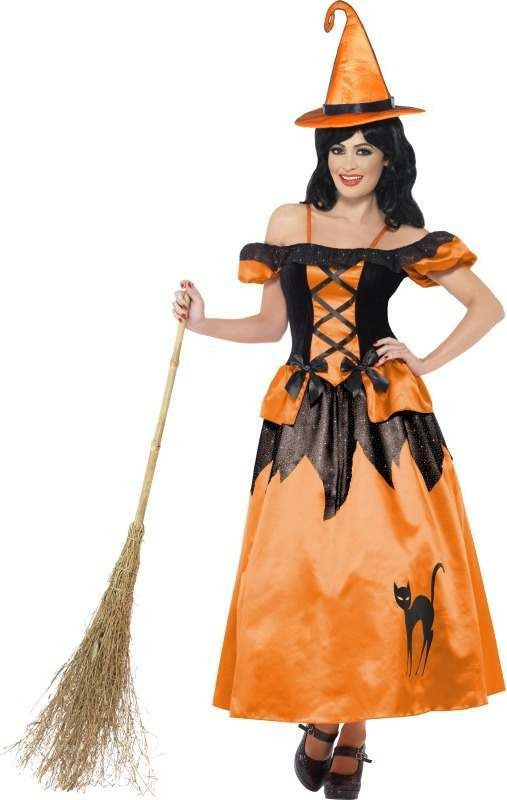 Ladies Storybook Witch Costume Halloween Outfit (Orange)