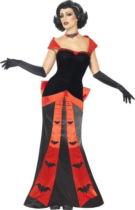 Ladies Glam Vampiress Costume Halloween Outfit (Black)
