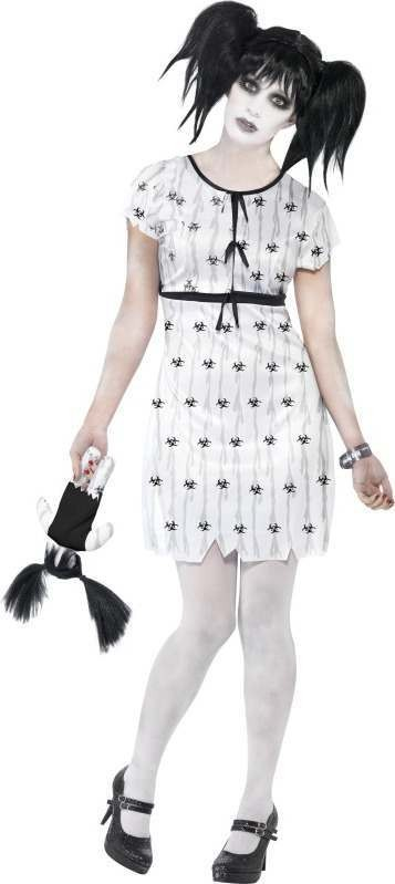Ladies Abby Normal Costume Halloween Outfit (White)