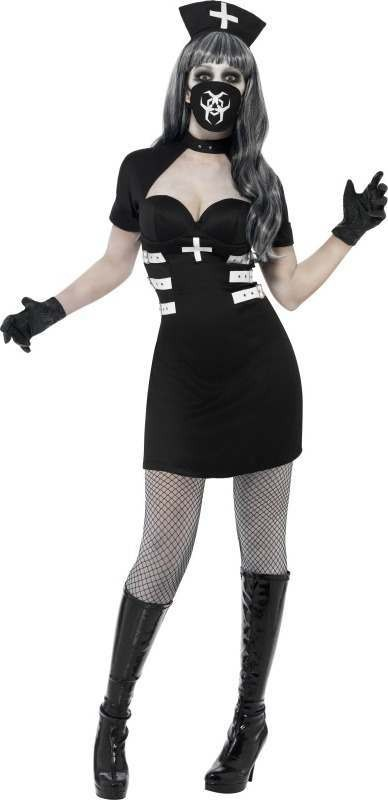 Ladies Nurse Delirium Costume Halloween Outfit - Size 16-18 (Black)