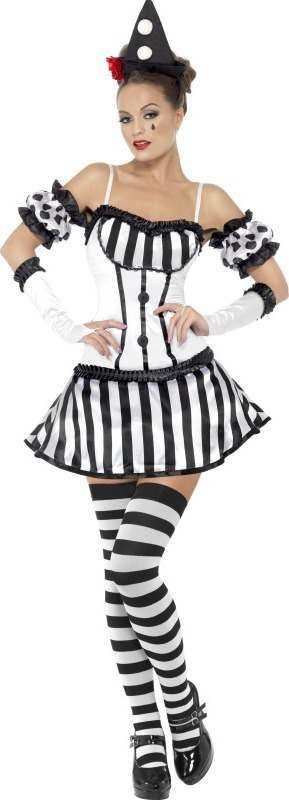 Ladies Fever Clown Mime Diva Costume Clowns Outfit