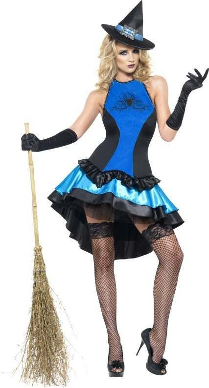 Ladies Fever Witch Couture Costume Halloween Outfit (Blue)