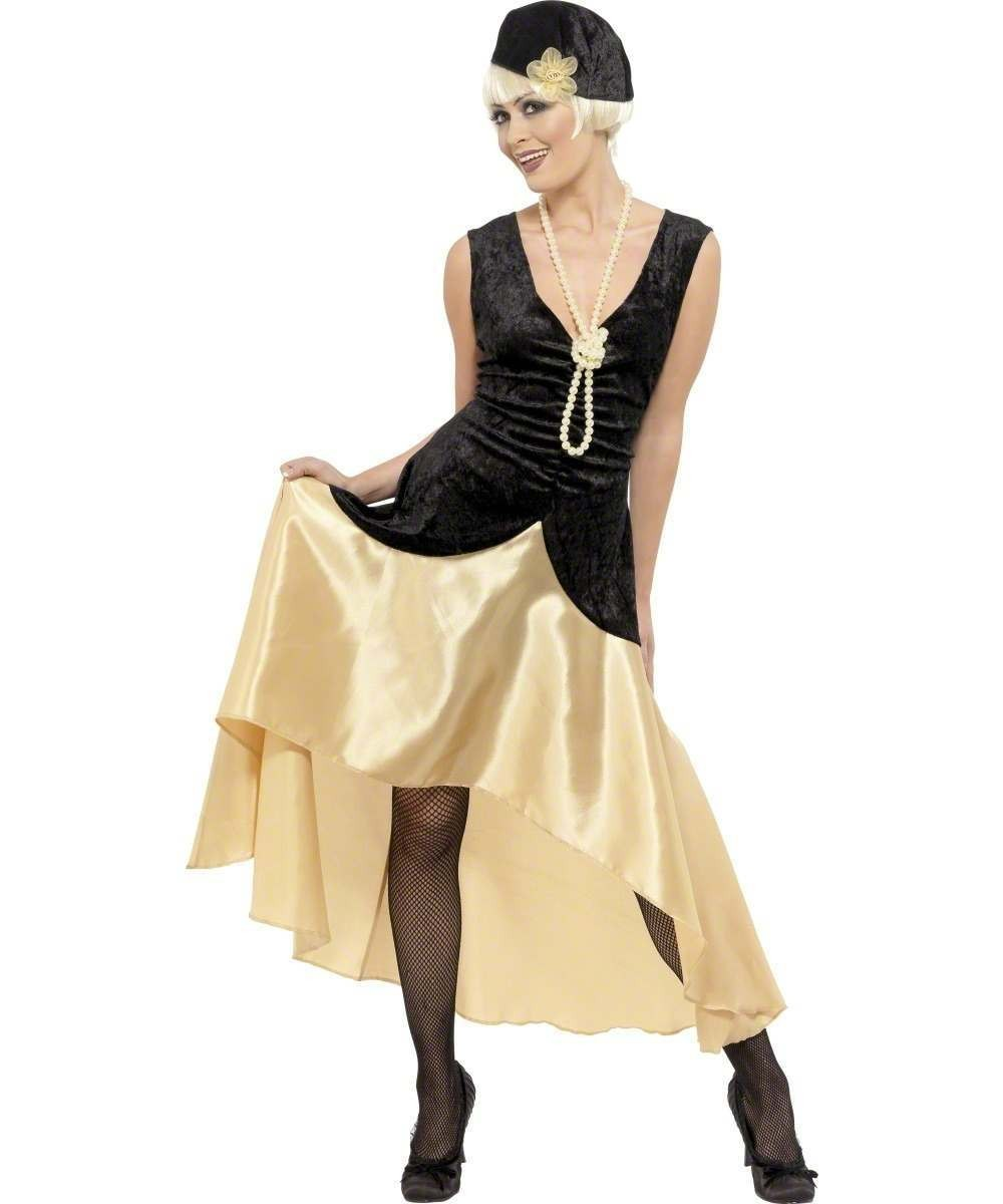 Ladies 20S Gatsby Girl Costume, Black And Gold 1920'S Outfit - Size 20-22