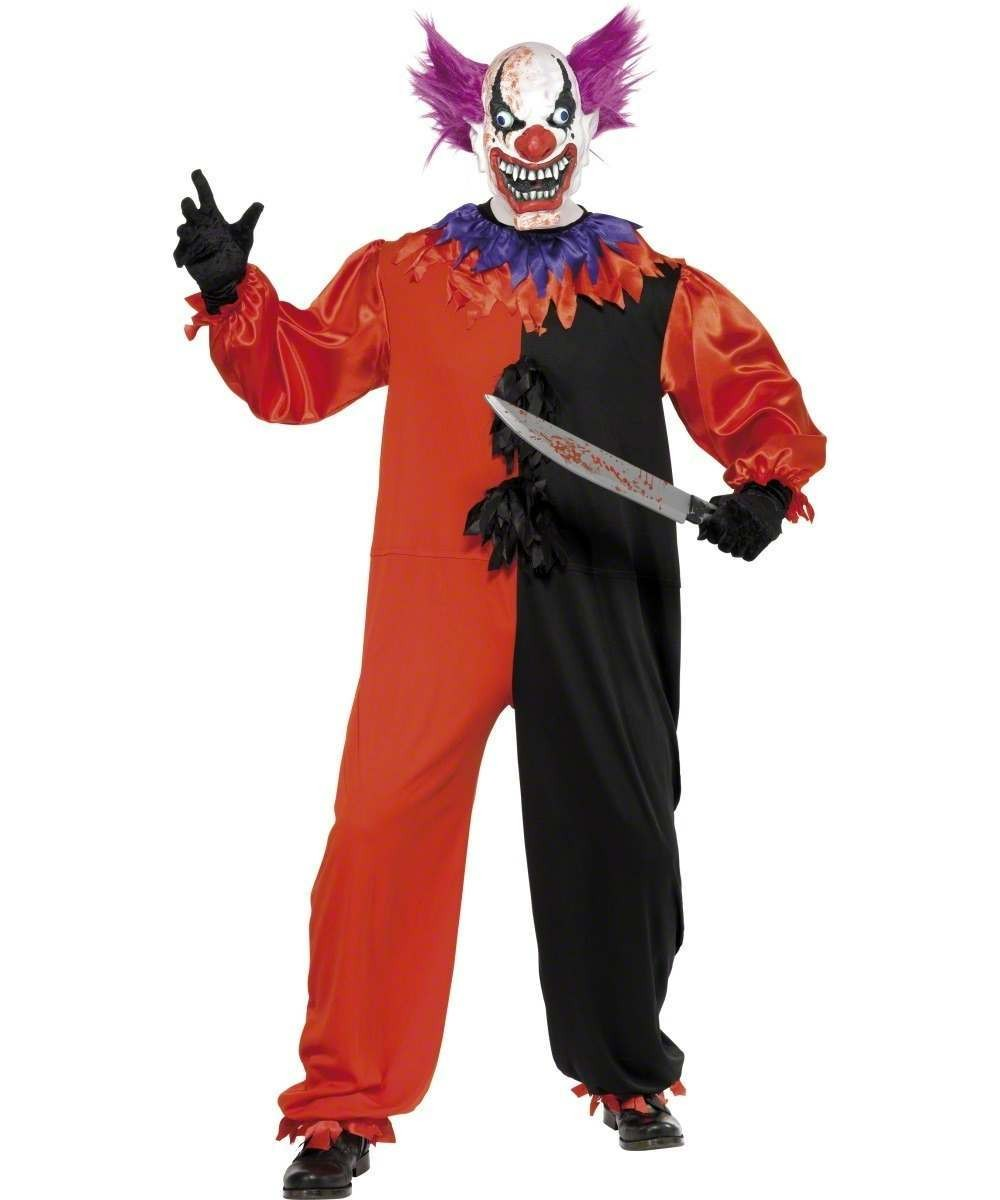 Mens Cirque Sinister Scary Bo Bo The Clown Halloween Outfit