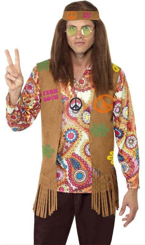 Mens Hippy Male Instant Kit Hippy Outfit (Brown)