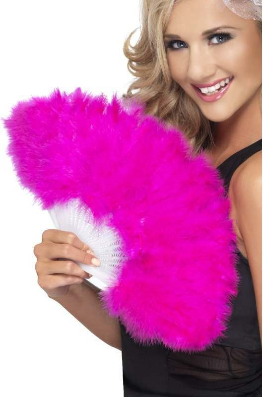 Ladies Hen Night Marabou Fan Hen & Stag - (Pink)