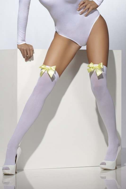 Opaque Hold-Ups Tights - (White)