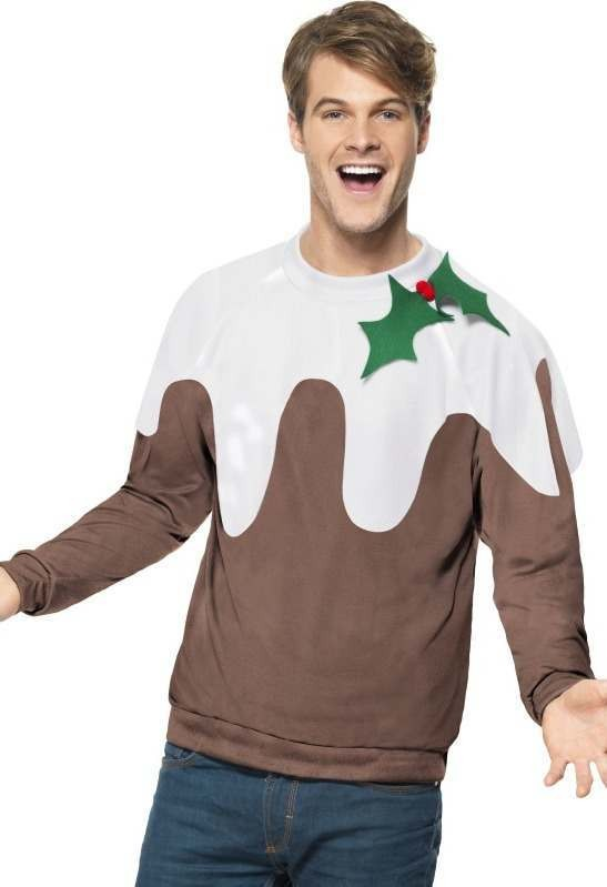 Mens Christmas Pudding Jumper Christmas Outfit (Brown)