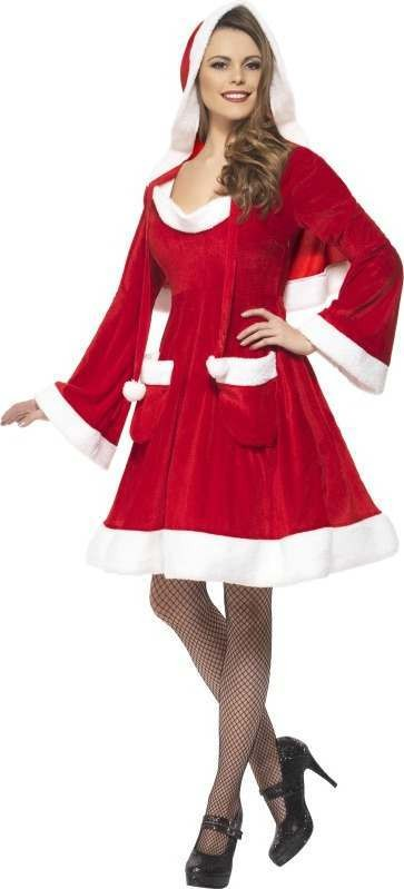 Ladies Santa In The City Costume Christmas Outfit (Red)