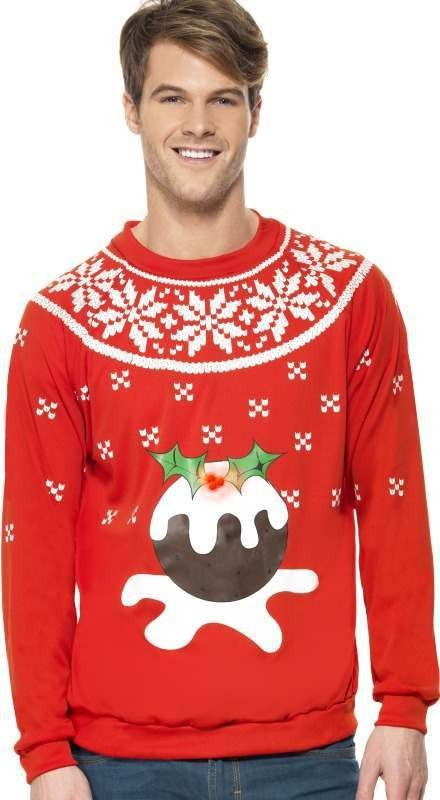 Mens Christmas Pudding Jumper, Light Up Christmas Outfit (Red)