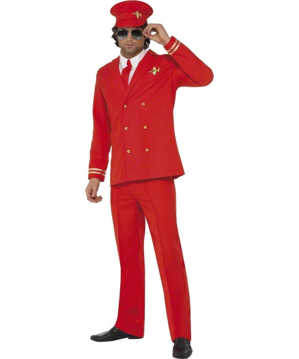 Mens High Flyer Costume Pilot/Air Outfit - Chest 46-48 (Red)